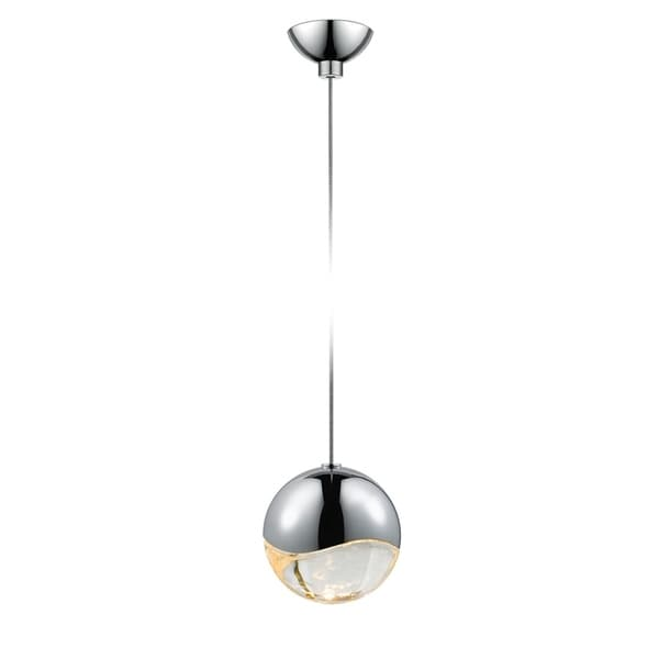 Sonneman Lighting Grapes 1-light LED Polished Chrome Micro-Dome Canopy Pendant, Clear Glass with All Medium Grapes