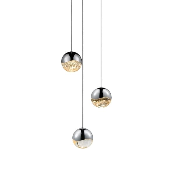 Sonneman Lighting Grapes 3-light LED Polished Chrome Round Canopy Pendant, Clear Glass with All Medium Grapes