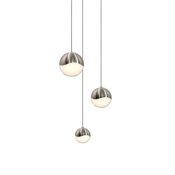 Sonneman Lighting Grapes 3-light LED Satin Nickel Round Canopy Pendant, White Glass with Assorted Size Grapes