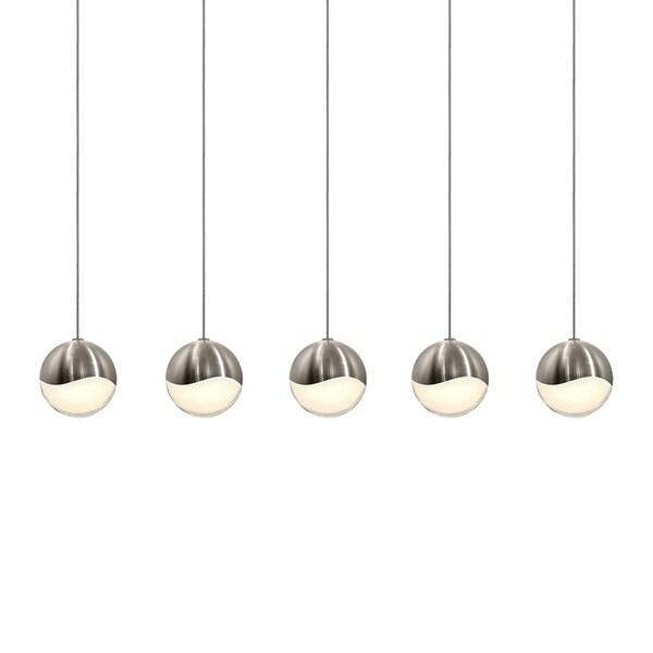 Sonneman Lighting Grapes 5-light LED Satin Nickel Rectangle Canopy Pendant, White Glass with All Medium Grapes