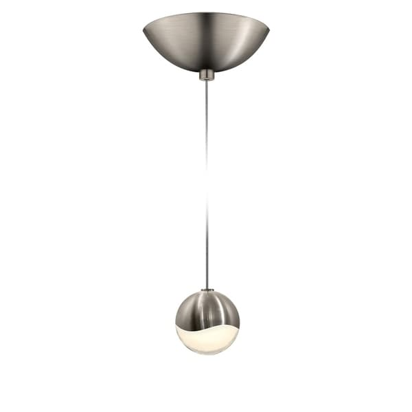 Sonneman Lighting Grapes 1-light LED Satin Nickel Dome Canopy Pendant, White Glass with All Small Grapes