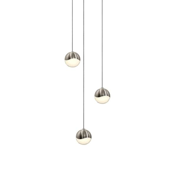 Sonneman Lighting Grapes 3-light LED Satin Nickel Round Canopy Pendant, White Glass with All Small Grapes