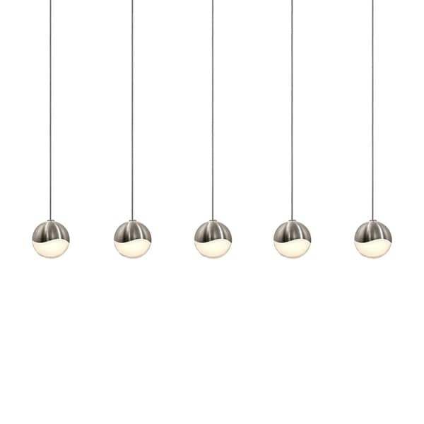 Sonneman Lighting Grapes 5-light LED Satin Nickel Rectangle Canopy Pendant, White Glass with All Small Grapes