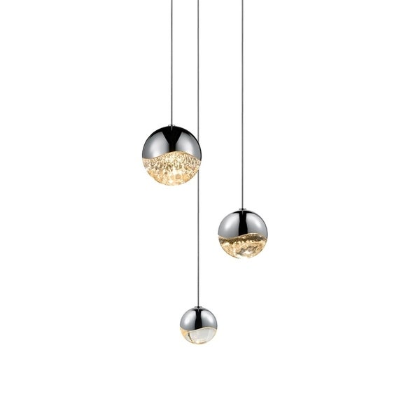 Sonneman Lighting Grapes 3-light LED Polished Chrome Round Canopy Pendant, Clear Glass with Assorted Size Grapes