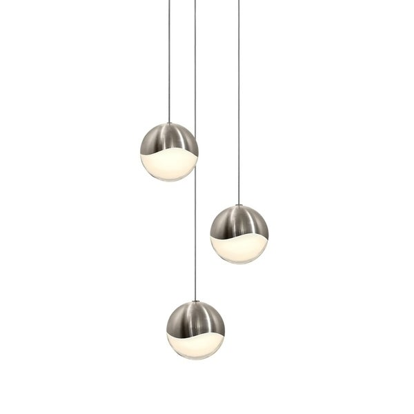 Sonneman Lighting Grapes 3-light LED Satin Nickel Round Canopy Pendant, White Glass with All Large Grapes