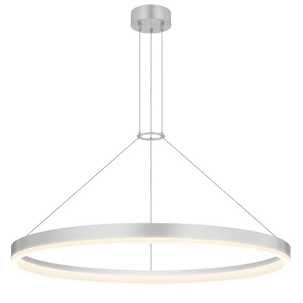 Sonneman Lighting Corona 32-inch LED Bright Satin Aluminum Ring Pendant, Frosted Shade