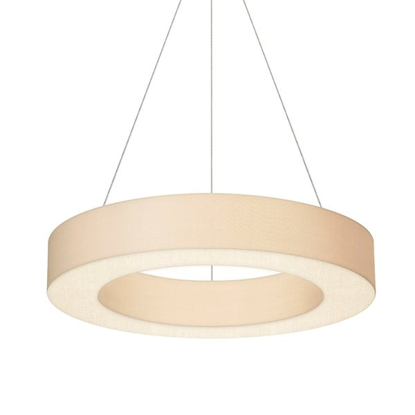 Sonneman Lighting Ring Shade 32-inch LED Satin White Pendant, Off-White Linen Shade