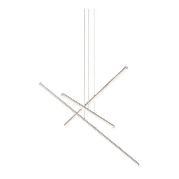Sonneman Lighting Stix LED Bright Satin Aluminum 3-Arm Pendant, Optical Acrylic Shade