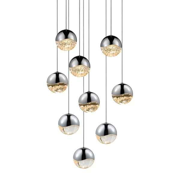 Sonneman Lighting Grapes 9-light LED Polished Chrome Round Canopy Pendant, Clear Glass with All Medium Grapes