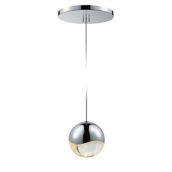 Sonneman Lighting Grapes 1-light LED Polished Chrome Round Canopy Pendant, Clear Glass with All Medium Grapes