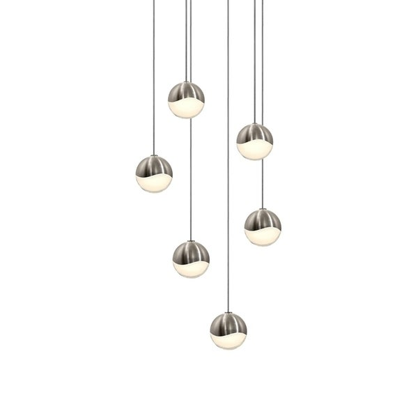 Sonneman Lighting Grapes 6-light LED Satin Nickel Round Canopy Pendant, White Glass with All Small Grapes
