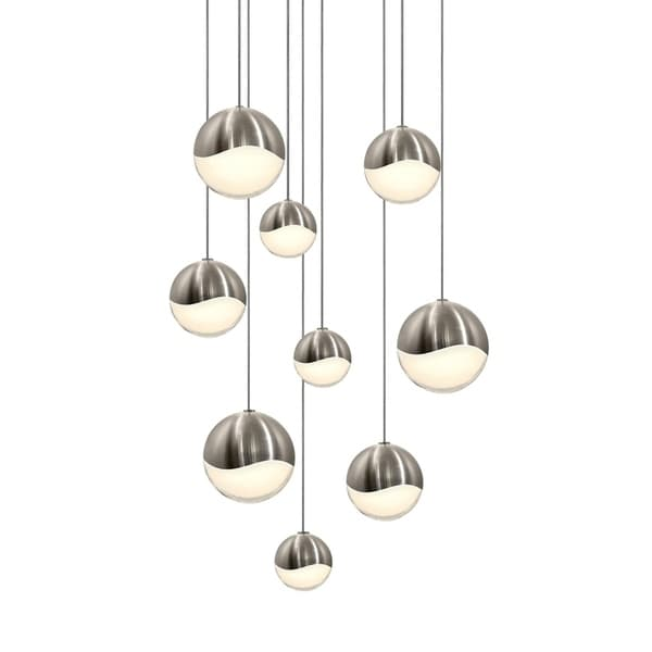 Sonneman Lighting Grapes 9-light LED Satin Nickel Round Canopy Pendant, White Glass with Assorted Size Grapes