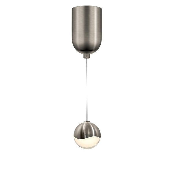 Sonneman Lighting Grapes 1-light LED Satin Nickel Finish Mini-Dome Canopy Pendant, White Glass with All Small Grapes