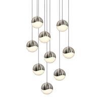 Sonneman Lighting Grapes 9-light LED Satin Nickel Round Canopy Pendant, White Glass with All Medium Grapes
