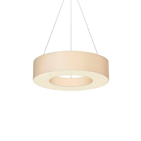 Sonneman Lighting Ring Shade 22-inch LED Satin White Pendant, Off-White Linen Shade