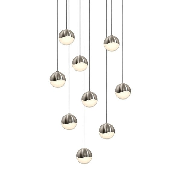 Sonneman Lighting Grapes 9-light LED Satin Nickel Round Canopy Pendant, White Glass with All Small Grapes