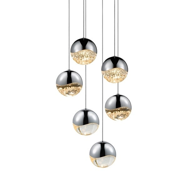 Sonneman Lighting Grapes 6-light LED Polished Chrome Round Canopy Pendant, Clear Glass with All Large Grapes