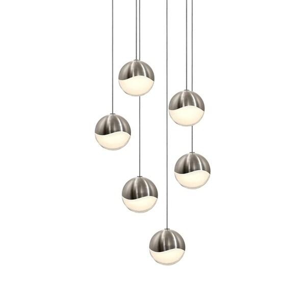 Sonneman Lighting Grapes 6-light LED Satin Nickel Round Canopy Pendant, White Glass with All Medium Grapes