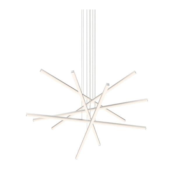 Sonneman Lighting Stix LED Bright Satin Aluminum 6-Arm Pendant, Optical Acrylic Shade