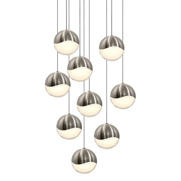 Sonneman Lighting Grapes 9-light LED Satin Nickel Round Canopy Pendant, White Glass with All Large Grapes