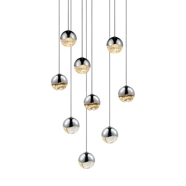 Sonneman Lighting Grapes 9-light LED Polished Chrome Round Canopy Pendant, Clear Glass with All Small Grapes