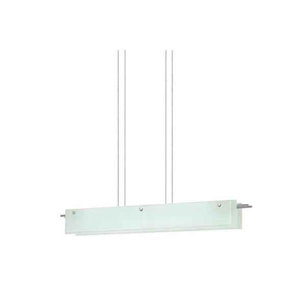Sonneman Lighting Suspended Glass Slim 40-inch LED Satin Nickel Pendant, Etched Glass