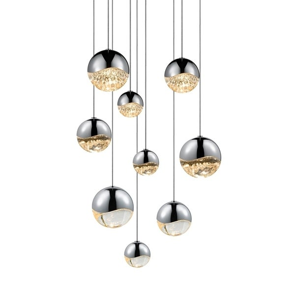 Sonneman Lighting Grapes 9-light LED Polished Chrome Round Canopy Pendant, Clear Glass with Assorted Size Grapes