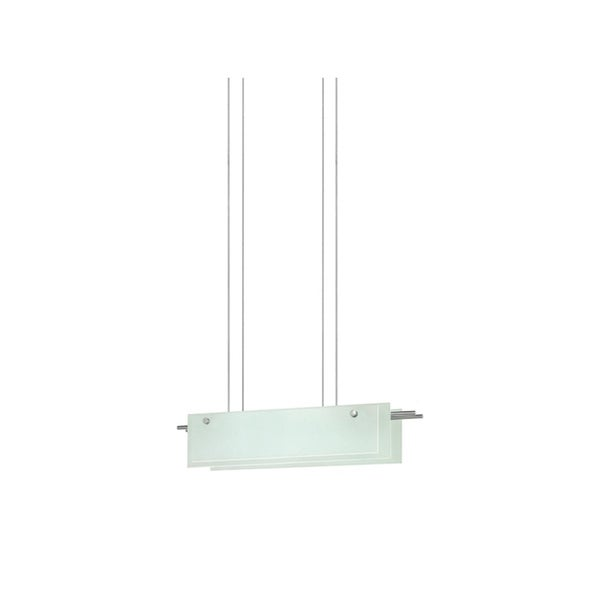 Sonneman Lighting Suspended Glass Slim 24-inch LED Satin Nickel Pendant, Etched Glass