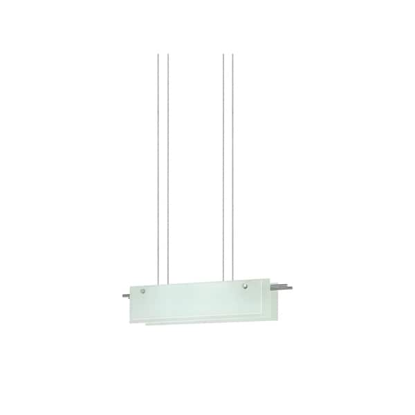 Sonneman Lighting Suspended Glass Slim 24 Inch LED Satin Nickel Pendant Etched