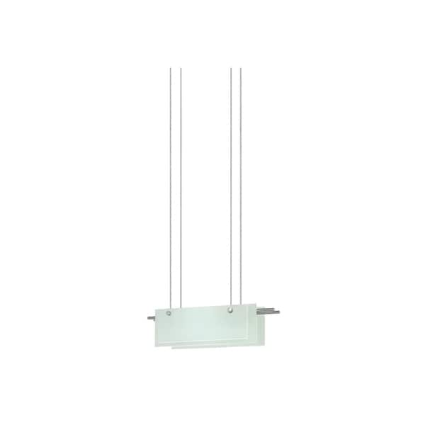 Sonneman Lighting Suspended Glass Slim 18-inch LED Satin Nickel Pendant, Etched Glass