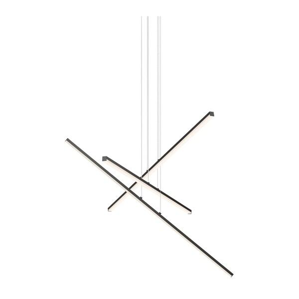 Sonneman Lighting Stix LED Satin Black 3-Arm Pendant, Optical Acrylic Shade