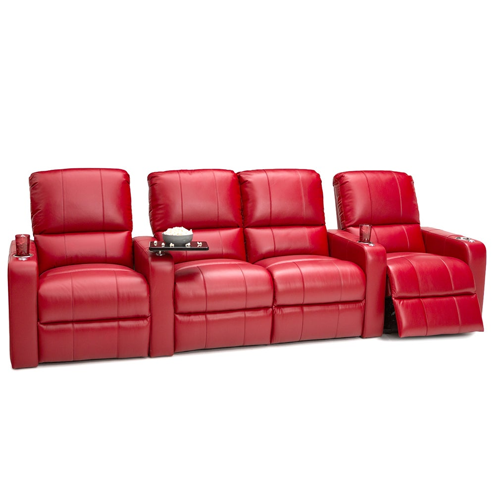 Seatcraft Millenia Red Leather Home Theater 4-seat Power ...