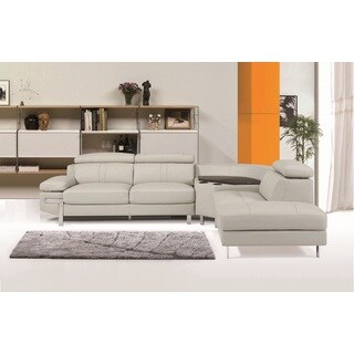 Grey Faux Leather Continental Sectional