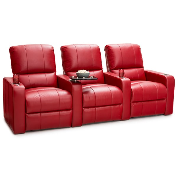 shop seatcraft millenia red leather row of 3 home theater power