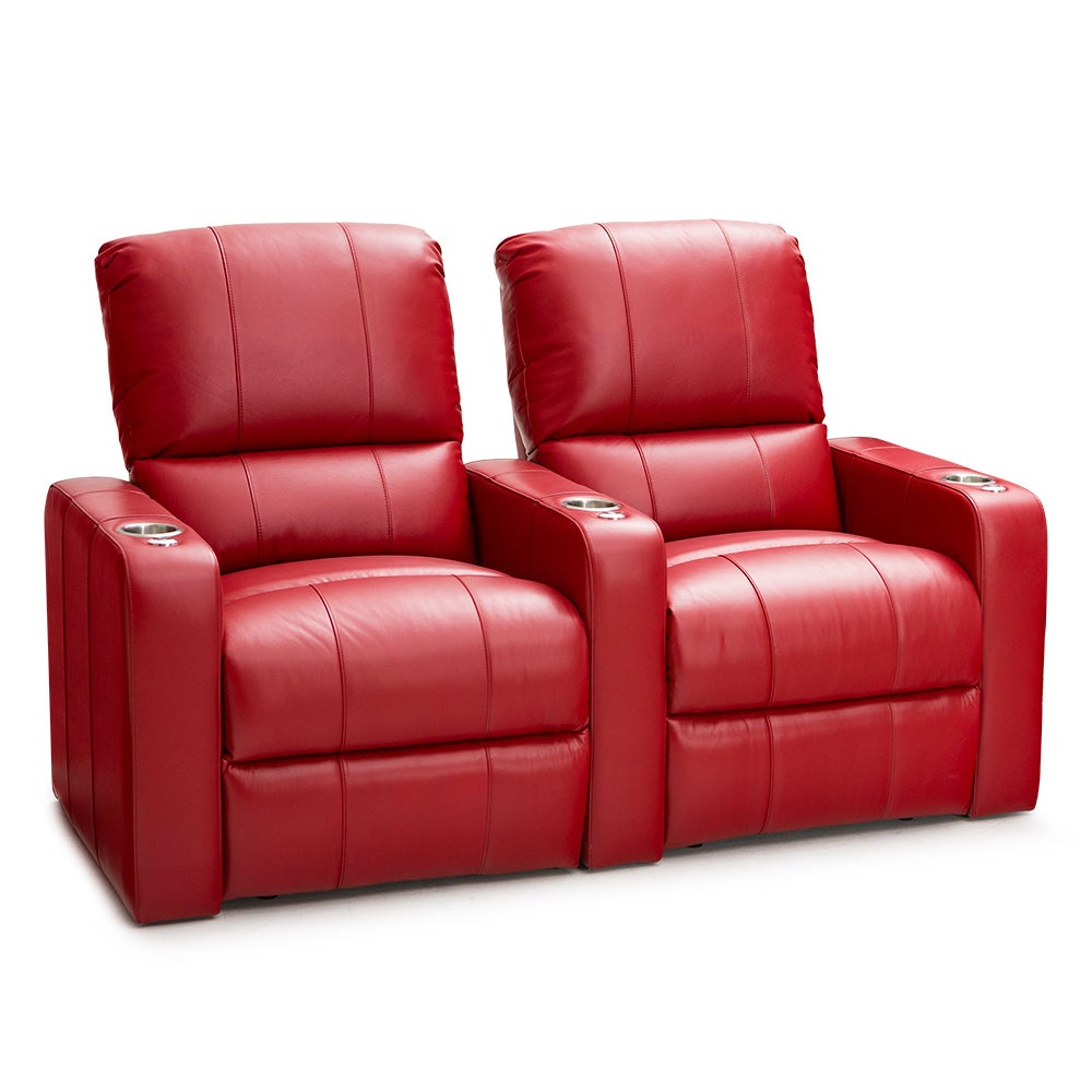 Seatcraft Millenia Red Leather Home Theater 2-seat Power ...