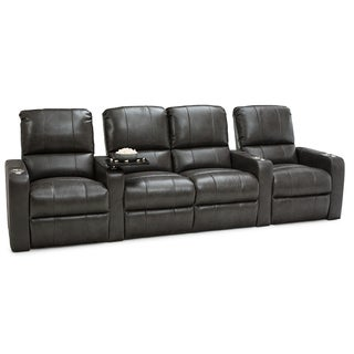 Seatcraft Millenia Grey Leather Home Theater 4-seat Power Recliner