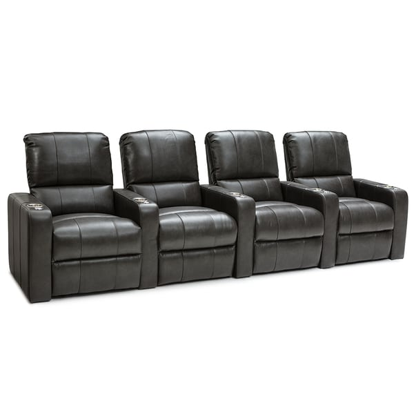 Seatcraft Millenia Grey Leather Power Recline Home Theater