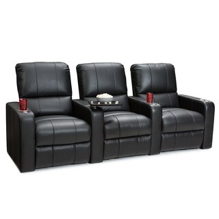 Seatcraft Millenia Leather Home Theater Seating Power Recline with Cup Holders Black Row of 3