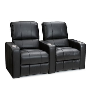 Seatcraft Millenia Black Leather Power Recline Home Theater Seating (Row Of  2)