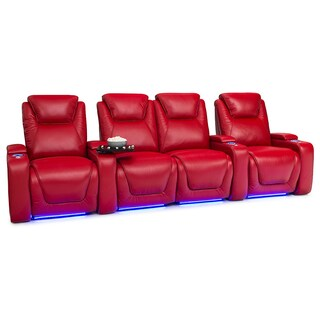 Seatcraft Equinox Leather Home Theater Seating Power Recline - Row of 4 w/ Loveseat, Red