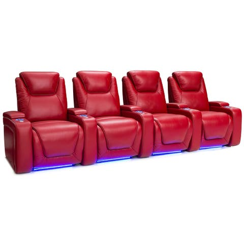 Seatcraft Equinox Leather Home Theater Seating Power Recline with Powered Headrest and Lumbar Support Red Row of 4