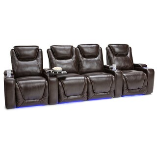 Seatcraft Equinox Leather Home Theater Seating Power Recline - Row of 4 w/ Loveseat, Brown