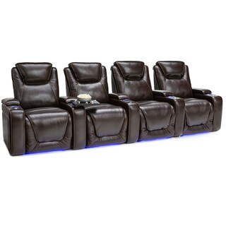 Seatcraft Equinox Leather Home Theater Seating Power Recline - Row of 4, Brown