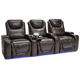 Seatcraft Equinox Leather Home Theater Seating Power Recline with Powered Headrest and Lumbar Support Brown Row of 3