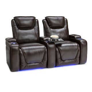 Seatcraft Equinox Leather Home Theater Seating Power Recline with Powered Headrest and Lumbar Support Brown Row of 2