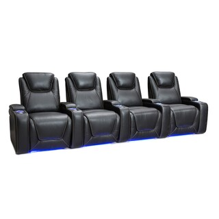 Seatcraft Equinox Leather Home Theater Seating Power Recline with Powered Headrest and Lumbar Support Black Row of 4
