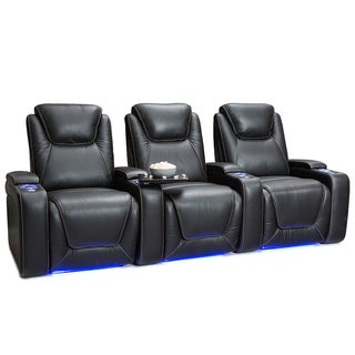 Seatcraft Equinox Leather Home Theater Seating Power Recline with Powered Headrest and Lumbar Support Black Row of 3