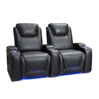 Seatcraft Equinox Leather Home Theater Seating Power Recline with Powered Headrest and Lumbar Support Black Row of 2
