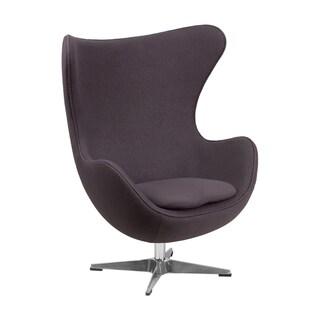 Offex Grey Wool Fabric Egg Chair with Tilt-lock Mechanism