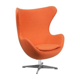 Offex Orange Wool Fabric Egg Chair with Tilt-lock Mechanism